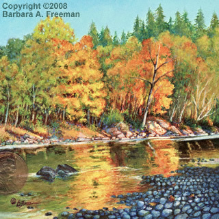 <table align=left width=95% border=0 cellspacing=3><tr><td align=left valign=top><strong>Autumn Reflections</strong/></td><td align=right valign=top><strong>In Private Collection</strong></td></tr><tr><td valign=top>Acrylic on Claybord, Framed<br><br>4 in. x 4 in.<br></td><td></td></tr></table><br><p><table align=left width=75% border=0 cellspacing=3></table></p>
