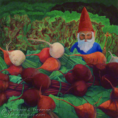 <table align=left width=95% border=0 cellspacing=3><tr><td align=left valign=top><strong>Garden Gnome, Contemplating His Latest Work</strong/></td><td align=right valign=top>US$ 350</td></tr><tr><td valign=top>Acrylic on Gessobord, Framed<br><br>5 1/2 in. x 5 1/2 in. <br></td><td></td></tr></table><br><p><table align=left width=75% border=0 cellspacing=3></table></p>